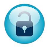 蓝色玻璃状图标开锁 免版税图库摄影