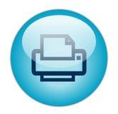 蓝色玻璃状图标打印机 免版税图库摄影