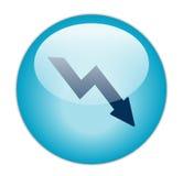 蓝色玻璃状图标损失 免版税库存照片