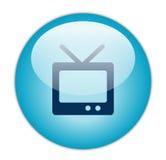 蓝色玻璃状图标电视 库存照片
