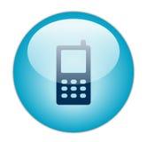 蓝色玻璃状图标移动电话 图库摄影