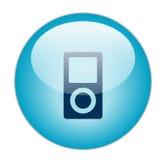 蓝色玻璃状图标音乐播放器 免版税图库摄影