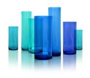 蓝色玻璃现代花瓶 库存图片