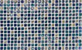 蓝色玻璃纹理瓦片墙壁 免版税图库摄影