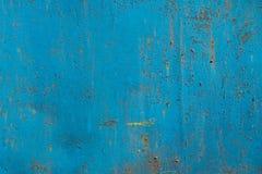 蓝色生锈的金属纹理 库存照片