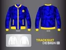 蓝色田径服设计传染媒介例证夹克设计制服 免版税库存照片