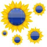 蓝色电太阳电池板背景与 库存照片