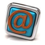 蓝色电子邮件按钮 库存图片