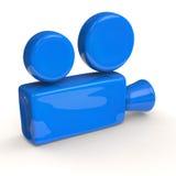 蓝色电影摄影机 库存照片