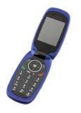 蓝色电池蛤壳状机件电话 免版税库存图片