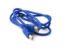 蓝色电缆usb 库存照片