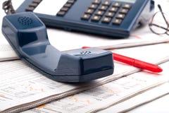 蓝色电话 免版税库存图片