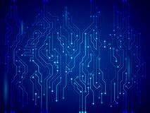 蓝色电路板传染媒介例证 免版税库存照片