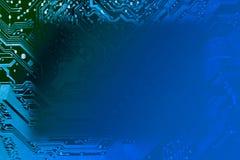 蓝色电路板长方形框架 免版税库存图片