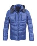 蓝色男性冬天夹克 免版税库存图片