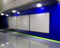 蓝色画廊墙壁 向量例证