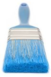 蓝色画笔前面油漆视图 免版税库存照片