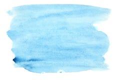 蓝色画笔抚摸水彩 免版税库存照片