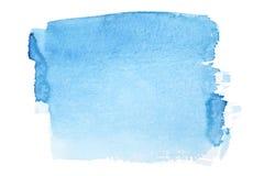 蓝色画笔抚摸水彩 库存图片