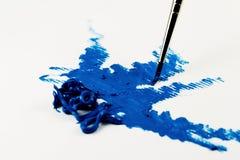 蓝色画笔颜色油冲程 免版税库存图片