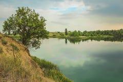 蓝色白垩挖掘风景特写镜头夏令时 城市Bereza,白俄罗斯 库存图片