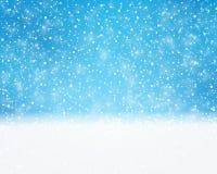 蓝色白色假日,冬天,与降雪的圣诞卡 免版税库存图片