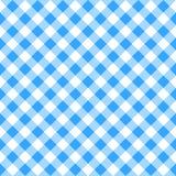 蓝色白色格子花呢披肩桌布 免版税库存照片