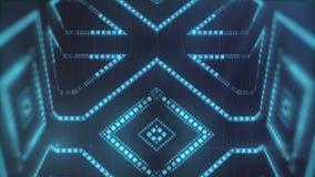 蓝色的动画带领了微粒形状 抽象VJ行动背景 3d翻译 4K,超HD决议 库存例证