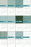 蓝色的喷泉和棕榈叶上色了几何样式日历2016年 图库摄影
