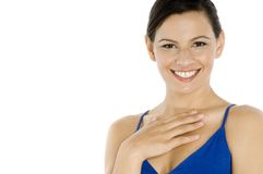 蓝色的妇女 免版税库存图片