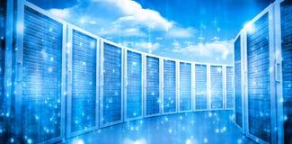 蓝色的服务器室 库存图片