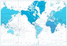 蓝色的颜色的世界地图大陆 美国在中心 库存图片