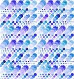 蓝色的水彩和紫罗兰盘旋无缝的纹理 图库摄影