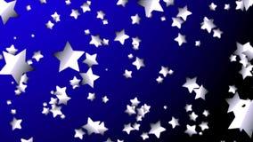 蓝色的4K或搬到深蓝背景或空间的中心的银色星 行动图表和动画背景 股票录像