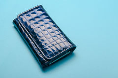 蓝色皮革钱包 图库摄影