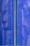 蓝色皮革锁定的拉链 库存照片