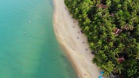 蓝色盐水湖和沙滩与棕榈 蓝色盐水湖和太阳床鸟瞰图在沙滩的与可可椰子和 股票视频