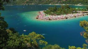 蓝色盐水湖和Oludeniz海滩 股票视频
