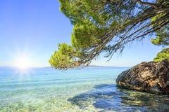 蓝色盐水湖 亚得里亚海的海岸 图库摄影