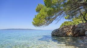 蓝色盐水湖 亚得里亚海的海岸 免版税图库摄影