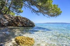 蓝色盐水湖 亚得里亚海的海岸 库存照片