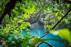 蓝色盐水湖-里约塞莱斯特河-阿雷纳尔天在哥斯达黎加附近的旅行视图 库存图片