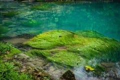 蓝色盐水湖-里约塞莱斯特河-阿雷纳尔天在哥斯达黎加附近的旅行视图 免版税库存照片