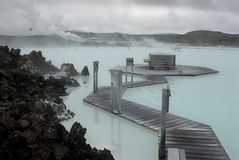 蓝色盐水湖 库存图片