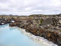 蓝色盐水湖在冰岛,欧洲 国家地标 库存图片