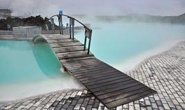 蓝色盐水湖在冰岛 免版税图库摄影