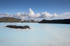 蓝色盐水湖在冰岛 免版税库存图片