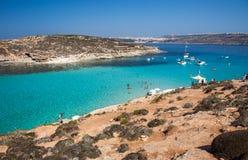 蓝色盐水湖在科米诺岛-马耳他 库存图片