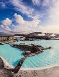 蓝色盐水湖室外地热水池,冰岛 免版税库存照片