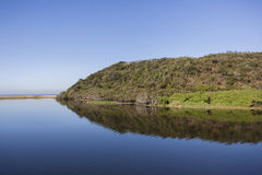 蓝色盐水湖横向 库存图片